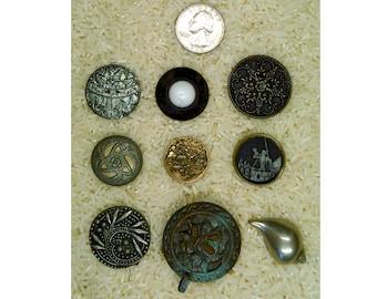 9 pcs. Antique Button Victorian Button Large Metal Vintage Button B634