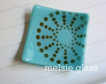 Orange Pinwheel glass dish - turquoise glass spiral design with orange