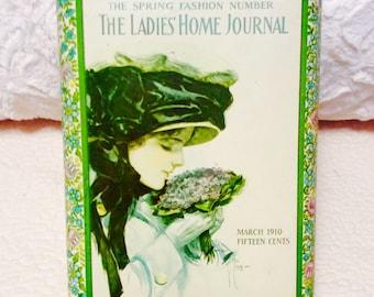 Vintage LADIES HOME Journal Tin Box Canister 1912 Advertising Cream Aqua Green