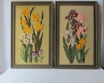 Pair Large Flower Crewel Embroidery Wall Hangings - Framed Iris & Daffodil Floral Wall Art - 1970s - Boho  Home Decor - Wall Art