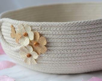Beige Bath Bowl, Handmade Rope Basket, Modern Clothesline Basket, Lovely Cream Bowl,  hand coiled natural rope basket