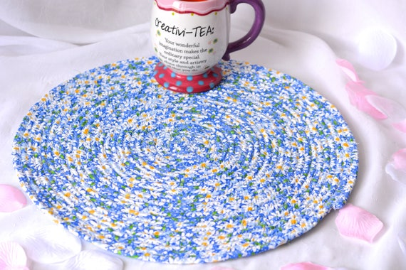 "Blue Summer Place Mat, Handmade Blue Floral Trivet, 14"" Quilted Trivet, Lapis Blue Hot pad, Hostess Gift,  Coiled Potholder"