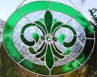 Stained Glass Suncatcher, Stained Glass Art, Glass Art, Decorative Solder Work, Glass Sun Catchers, Glass Suncatchers, Glass Panel, 9560-GR