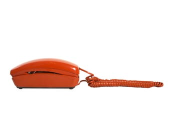 Trimline Rotary Telephone in Orange by Western Electric