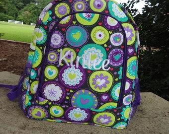Personalized  Girls Backpack,  Purple Geometric Pattern Backpack, Girls Purple Backpack