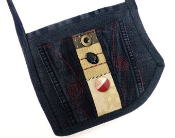 Black Denim Forever Flat Mini Bag, a Passport Style Shoulder or Cross Body Bag, by Vic Von Pip Studio
