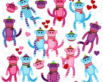 BACK TO SCHOOL Sale Valentine's Day Sock Monkeys Clipart Clip Art Vectors, Great for Sock Monkey Valentines Day Cards - Commercial and Perso