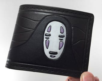 No Face  - Spirited Away Hand Tooled Leather Wallet