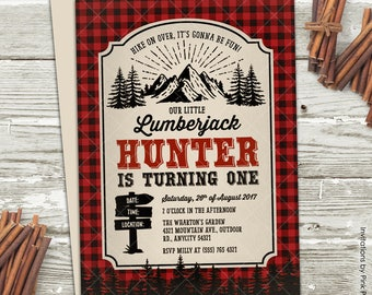 Lumberjack Birthday Invitation, Lumberjack Great Outdoor Camping Adventure Birthday Party Printable Invitation