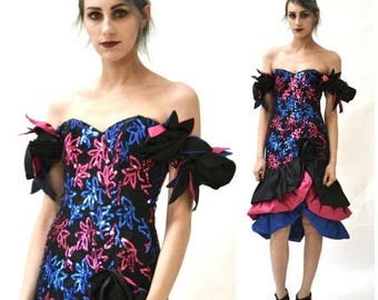 SALE 80s Prom Dress Black Blue Pink Sequins Ruffles Size XS SMALL// Vintage 80s Party Dress Size Xs Small Black Blue Pink Alyce Designs