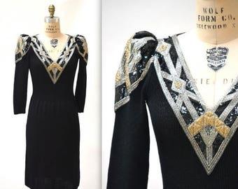 SALE Vintage Black Sweater Dress Size Small Medium Beaded Art Deco Inspired// Black Sweater Dress Metallic Sequins Beading By Pat Sandler