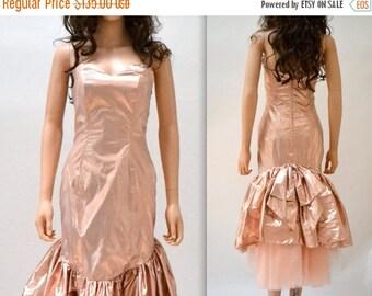 SALE Metallic 80s Prom Dress Pink Size XS Small by Zum Zum// Vintage 80s Party Dress Metallic Pink Strapless