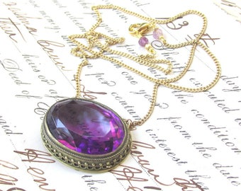 Vintage HUGE Purple Rhinestone Pendant Necklace made from converted 1920s brooch