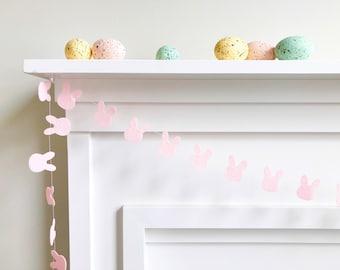 Mini Felt Bunny Garland - Pink or White - Bunting, Banner, Easter, Decor