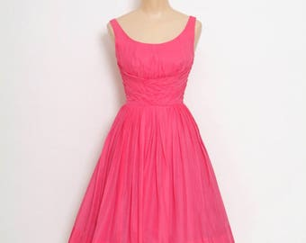 Vintage 1950s dress / miss elliette 1950s / party dress / 1950s rockabilly / Pink dress / Full skirt dress / 50's summer / 1950s party dress