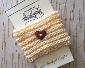 Heart Button Coffee cozy, coffee sleeve, crocheted coffee cozy, handmade coffee sleeve, coffee cozy with heart button