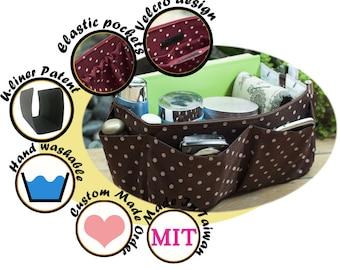 Purse organizer insert multi-pocket for handbag brown polka dots Large 25x10cm