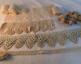 Assortment of Antique Handmade Lace in Ecru - TL10N