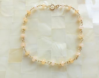 Smooth Peach Moonstone Rondelle Vermeil Wire Wrapped Chain Bracelet (B1233)
