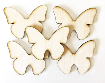 "Unfinished Wood Butterflies 4 1/4"" inch Set of 5, wood butterfly, Holiday Craft supplies, wood shapes, wood blanks"