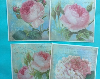Shabby Chic Cabbage Roses Large Edible Image wafer papers for your iced cakes, cookies, desserts