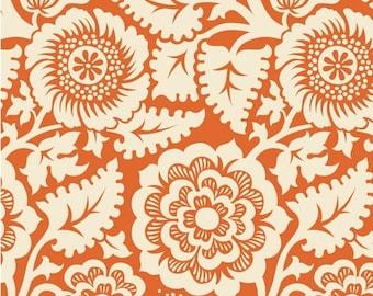 SALE 10% Off - Blockprint Blockade Blossom in Amber (JD48) - HEIRLOOM - Joel Dewberry - Free Spirit Fabric - By the Yard