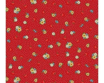 SALE 10% Off - Vintage Floral on Red  1920-13F - MARGARET & Sophie Ii - Quilt Gate Fabrics - By the Yard
