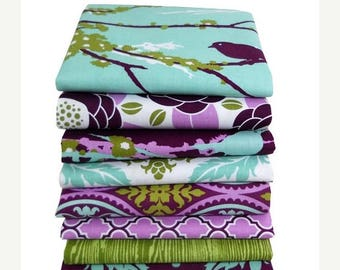 SALE 10% Off - Half Yard Bundle of 8 - Aviary 2 by Joel Dewberry for Free Spirit - Lilac Palette - 4 Yards Total