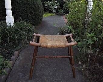 Mid Century Modern Stool, 1950s vintage Woven Seat Wooden Footstool, Raffia Rush Cane Seat, Curved Seat Stool, Primitive Wood Foot Stool