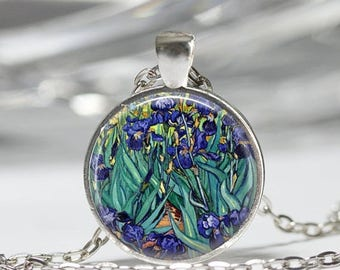 ON SALE Van Gogh Irises Necklace Spring Flowers Garden Floral Fine Art Pendant in Bronze or Silver with Link Chain Included
