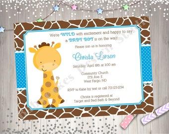 Giraffe Baby Shower Invitation Boy Giraffe Invitation Giraffe Baby Sprinkle Invitation Boy Baby Shower Invitation Printable