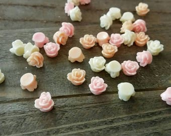 Flower Beads Resin Flower Beads 10mm Flower Beads Cabochon Beads Assorted Flower Beads Assorted Beads BULK Beads 35pcs PREORDER