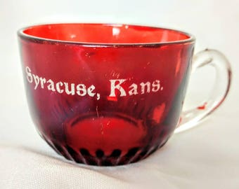 Vintage Collectible Ruby Red Flash EAPG Glass Souvenir SYRACUSE KANSAS Cup Pressed Muchref. 13295