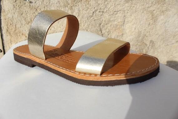 SALE! Leather sandals gold greek sandals sandales grecques size 38- US 7-7.5