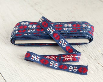 Vintage Embroidered Trim - Red, White, and Blue Folk Heart Trim Ribbon, 8 Yards