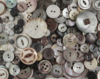 Vintage Shell Buttons and Carved Fancies, 100 Smoky Mother of Pearl Buttons