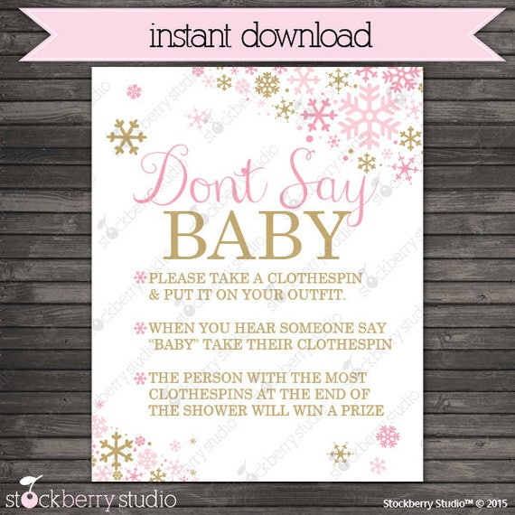 photo regarding Free Don't Say Baby Printable identified as Boy or girl Shower Clothespin Activity No cost Printable - Child Shower Designs