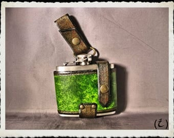 Green leather flask holster - Wenya -