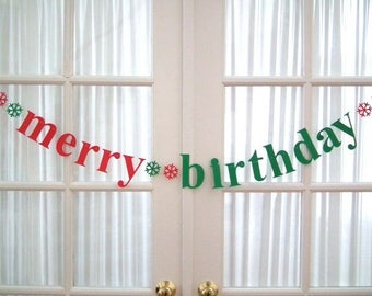 merry birthday Banner with Snowflakes.  Christmas Birthday.  December Birthday. Happy Birthday.  5280 Bliss.  #EtsyGifts