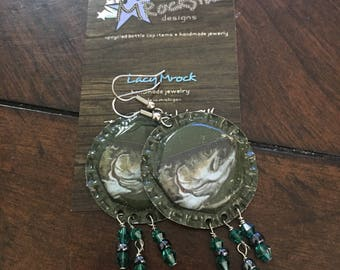 Two hearted Ale Upcycled Earrings, beer, craft beer, fish, fishing, michigan, handmade, bells brewing, recycled, upcycled