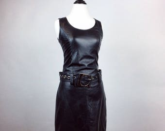 90's Leather Mod Moto Shift Dress with Big Silver Buckle  // S - M
