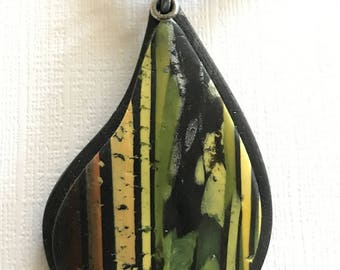 Teardrop Jewelry Set - Green and Yellow - Teardrop Pendant and Stud Earrings - Polymer Pendant