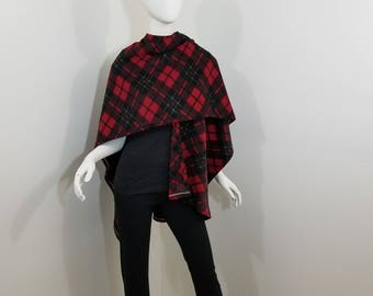 fleece red, black and green plaid wrap