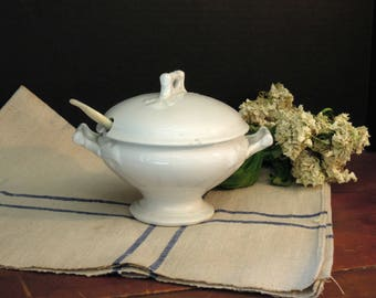 Vintage Ironstone Small Tureen and Sterling Mother of Pearl Ladle / Mini Casserole / England / 1800's