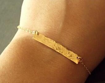 SALE - GOLD Hammered Bar Bracelet, Silver Nameplate Bracelet, ID Bracelet, Personalized Jewelry, Initial Bar Bracelet, Personalized Name Bra