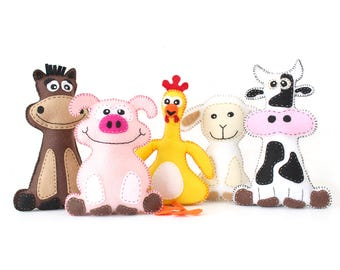 Farm Animal Softie Patterns, Felt Stuffed Barnyard Animal Patterns, Plush Cow, Chicken, Sheep, Pig & Horse, Easy Hand Sewing