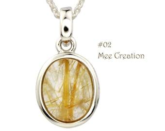 PD010102) Golden Rutilated Quartz Pendant, Oval Pendant, Golden pendant, Yellow Pendant, Gemstone Pendant, 925 Sterling Silver Pendant