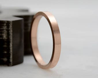 Women's Gold Ring - 14k Rose Gold Wedding Band Anniversary Band Stacking Rings - 2mm Ring in Recycled Gold