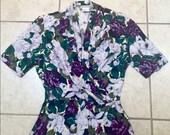 Vintage 1990s EVAN PICONE purple floral wrap top / blouse, size 6