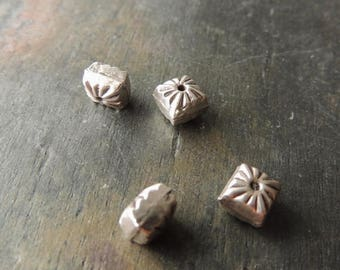 30% OFF Sterling Silver Square Beads, Thai Silver Square Beads, 4 beads